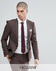 Heart & Dagger Super Skinny Suit Jacket In Dogstooth Fleck - Brown
