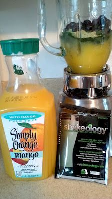 Blueberry and Mango blended with Greenberry Shakeology® - refreshing and YUM!