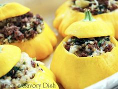 Stuffed Patty Pan Squash--Another yummy recipe from Amee's Savory Dish!  #stuffedsquash #recipe