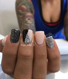 pink, silver and black nails with glitter