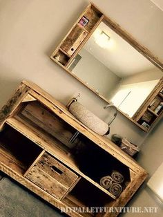 We explain how to make sofas, beds, shelves, tables … Pallet furniture is the most economical way to decorate your home - Diy Pallets New Bathroom Ideas, Modern Bathroom Decor, Modern Bathrooms, Wooden Pallet Furniture, Diy Furniture, How To Make Sofa, Best Bath, Modern Cabinets, Bathroom Cabinets