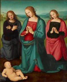"Pietro Vannucci (called Perugino ca. 1450–1523), ca. 1500, ""Madonna and Saints Adoring the Christ Child"", Umbria (Italy)."