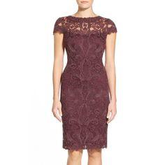 Tadashi Shoji Illusion Yoke Lace Sheath Dress (Petite) ($160) ❤ liked on Polyvore featuring dresses, blackberry, petite sheath dress, cap sleeve dress, transparent dress, lace sheath dress and sheer dress