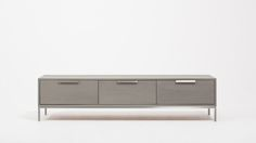 "PLACED BENEATH WINDOW BETWEEN LIVING ROOM AND DINING ROOM:  Assembled 70""w x 18.5""d x 17.5""h   edward low credenza grey front-1"