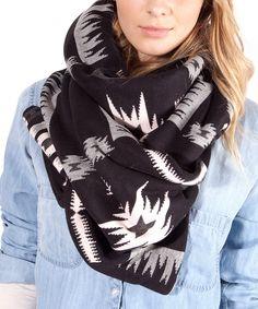 Look at this #zulilyfind! Plush Black Aztec Fleece-Lined Scarf by Plush #zulilyfinds