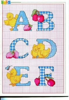 Alfabeto punto croce maiuscolo con pulcini e ciliegie (1)