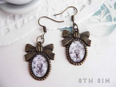 Antique Bronze Alchemy Symbol Cameo Earrings by 8thSinCreations