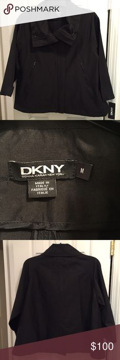 Beautiful new DKNY black jacket Beautiful new DKNY black jacket. Material is thin and made from 64% ramie, 32% rayon and 4% spandex, so it's not a warm winter jacket but it is very stylish. Dry clean only material and will likely need to be pressed after shipping. DKNY Jackets & Coats