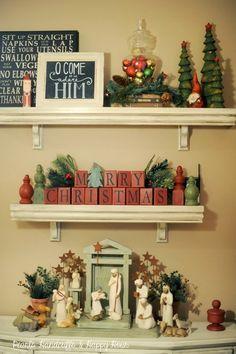 Christmas display! I want a willow tree nativity set so bad!