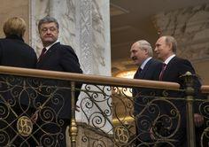 Angela Merkel, Vladimir Putin, Francois Hollande, Alexander Lukashenko, Petro Poroshenko 12-2-15  In Minsk is vanochtend een akkoord bereikt over het conflict in Oekraïne. De leiders van Duitsland, Frankrijk, Rusland en Oekraïne hebben ruim veertien uur onderhandeld. Er is een wapenstilstand van kracht vanaf 15 februari.