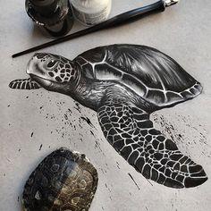 Realistic Sketches of Endangered Wildlife – Animal Drawing Ocean Turtle, Sea Turtle Art, Turtle Swimming, Animal Sketches, Animal Drawings, Nautical Tattoo Sleeve, Turtle Sketch, Tattoo Caveira, Turtle Tattoo Designs