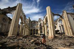 Haiti's Roman Catholic Cathedral in November 2010 after quake and Hurricane Thomas. Haiti 2010, Roman Catholic, Brooklyn Bridge, Barcelona Cathedral, World, Building, Places, Pictures, Travel