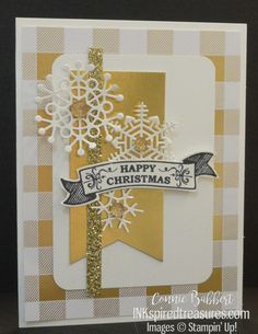 Today we have a fun sketch challenge over on Create with Connie and Mary! I finished my card up late and was so surprised that no one else had used snowflakes on their card! Christmas Cards 2017, Stampin Up Christmas, Holiday Cards, Christmas Diy, Touch Of Gold, Winter Cards, Paper Design, Stampin Up Cards, I Card