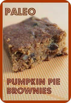 This Paleo pumpkin pie brownie is made with coconut flour, pumpkin, pecans and raisins. Its has only a modest amount of agave so it is relatively low-carb, wheat-free and so moist and delicious. It's a really quick recipe to whip up. Everyone loves it!