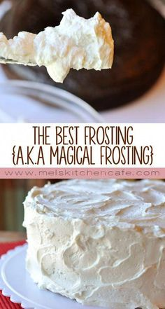 The Best Frosting (a. Magical Frosting)- The Best Frosting (a. Magical Frosting) The Best Frosting {a. This frosting really does live up to it& title the BEST. Baking Recipes, Cake Recipes, Dessert Recipes, Cake Filling Recipes, Cake Bars, Köstliche Desserts, Delicious Desserts, Health Desserts, Food Cakes