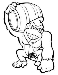 Donkey Kong Holding A Barrel Coloring Page Letscolorit Com Ausmalbilder Bilder Nachzeichnen Wenn Du Mal Buch