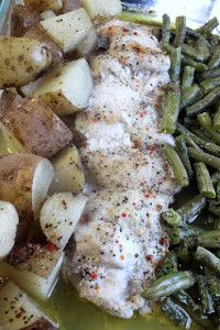 One Dish Chicken Dinner - Potatoes, chicken and green beans cook together in one dish! Delicious, moist chicken with flavorful vegetables. YUM