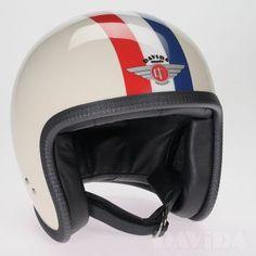Davida speedster Helmets: two tone Cream, Red, White, Blue, Stripe Product Code: 90291