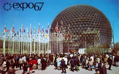 pavilion at Expo 67 in Montreal, by Richard Buckminster Fuller Expo 67 Montreal, Montreal Ville, Montreal Canada, Montreal Quebec, Beatles, Buckminster Fuller, Natural Building, Geodesic Dome, Pet Travel