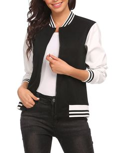 OD'lover Women Zip Up Baseball Varsity Jacket Juniors Bomber Jacket Clubwear, Black Cotton, Zip Ups, Jackets For Women, Women Wear, Bomber Jacket, Casual Jackets, Baseball, Stylish