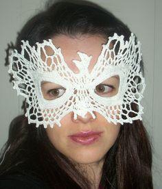 Phoenix Bird Lace Masquerade Mask Crochet Pattern PDF file. $1.95, via Etsy.