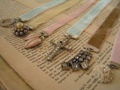 Vintage rhinestone bookmarks - lovely!