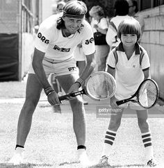 Swedish tennis player Bjorn Borg with eight year-old future champion Andre Agassi, Las Vegas, Nevada, 1978.