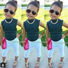 Baby Kids Girls Black Tops Shirt+Leggings Pants 2Pcs Summer Outfits Set 2-7Y
