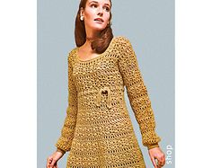Crochet Dress Pattern Womens Vintage Empire Mini Dress Crochet Pattern PDF Instant Download Size 8 to 14- C56