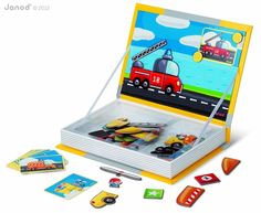 Screen-free car games for kids:: Magnetibook Vehicles magnet toy by Janod