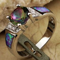 Mystic topaz and opal ring