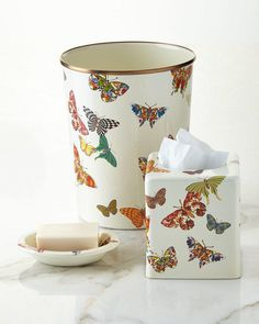 MacKenzie-Childs White Butterfly Garden Vanity Accessories. Handcrafted vanity accessories sold individually. $ 26
