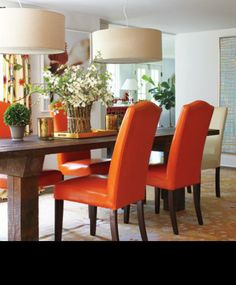 Love these orange chairs from New England Home Magazine | Celebrating Fine Design, Architecture and Building