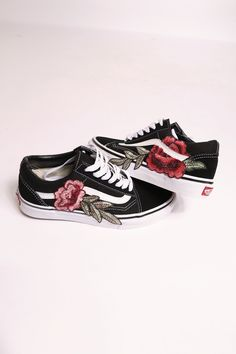 2a4e59e4fdac brand new vans old skool low top with rose patch shoes are made to order -