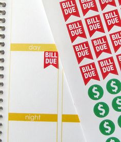 Bill Due/Pay Day/Money Red/Green Stickers for Erin by PlannerPenny