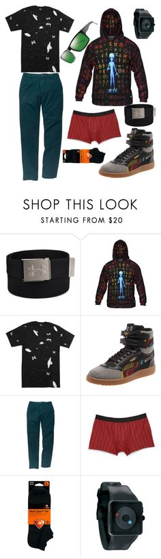 """""""Believer"""" by lizafterdeath ❤ liked on Polyvore featuring Under Armour, Puma, Southern Proper, Hanro, Sof Sole, Nixon, Smith, men's fashion und menswear"""