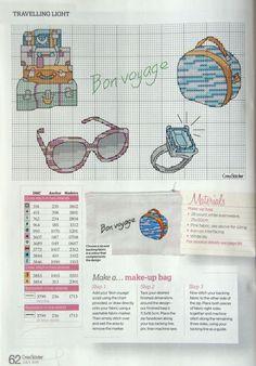 0 point de croix bagages, lunettes et bague - cross stitch luggage, sunglasses and ring