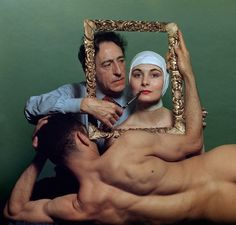 French poet, artist and filmmaker Jean Cocteau with American actress Ricki Soma and American dancer Leo Coleman. (New York City), 1949