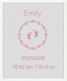 Baby announcement cross stitch pattern personalized birth an Baby Cross Stitch Patterns, Cross Stitch Baby, Cross Stitch Designs, Cross Stitch Cards, Cross Stitching, Cross Stitch Embroidery, Cross Stitch Kitchen, Baby Girl Gifts, Newborn Gifts
