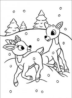 Rudolph Coloring Pages | Rudolph the Red Nosed Christmas Reindeer Coloring Pages
