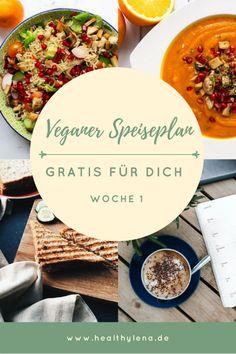 Du möchtest gerne vegan kochen und suchst nach Inspirationen? Meinen veganen Speiseplan gibt es gratis für dich! Der Wochenplan liefert dir einfache und schnelle Rezepte für den Alltag, die oft ohne Soja auskommen und glutenfrei sind. Den Plan kannst du kostenlos herunterladen. Hier sind die veganen Rezepte für die Woche 1 - vegan leben leicht gemacht! #vegan #veganerezepte #gesundeernährung #gesund