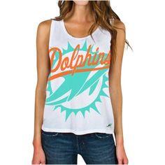 Miami Dolphins Junk Food Women's Oversized Logo Tank Top – White