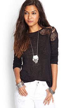 Ornate Lace Linen Top | FOREVER 21 - 2000059221