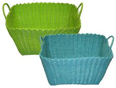Coloured Wicker Washing Basket