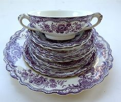 PURPLE-LAVENDER-14-PIECE-TRANSFERWARE-SET-BRISTOL-BY-CROWN-DUCAL-ENGLAND