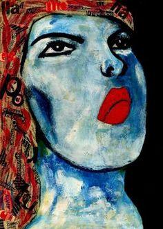 "Saatchi Art Artist CARMEN LUNA; Painting, ""37-RETRATOS Expresionistas. Estrella."" #art http://www.saatchiart.com/art-collection/Painting-Assemblage-Collage/Expressionist-Portrait/71968/51263/view"