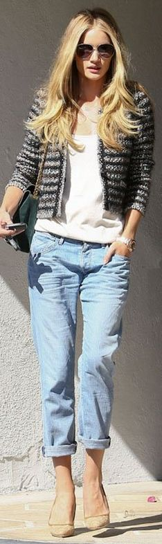 love the look!  Purse - Celine Jacket - Isabel Marant Jeans - Citizens of Humanity Isabel Marant Barte tweed jacket Shopbop Citizens of humanity Dylan Boyfriend Jeans Singer22 Dylan Boyfriend Jean in Seychelles - as seen on Rosie Huntington-Whiteley - by Citizens of Humanity