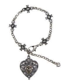 Another great find on #zulily! Two-Tone Heart Design 3-D Charm Bracelet #zulilyfinds