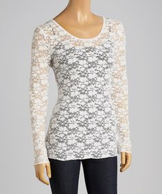 Look at this #zulilyfind! Bleach White Floral Lace Scoop Neck Top by Young Essence #zulilyfinds