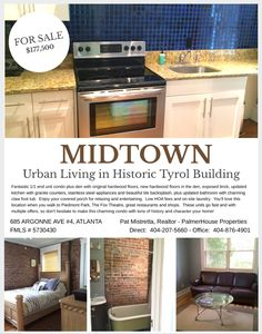 Newly Listed: Midtown Atlanta condo in Historic Building with so much character. Fantastic brick walls, hardwood floors, claw foot tub and modern upgrades. Perfect blend of new and old. Atlanta Condo, Atlanta Midtown, Stainless Steel Appliances, Kitchen Appliances, Hardwood Floors, Flooring, Brick Walls, Granite Counters, Exposed Brick